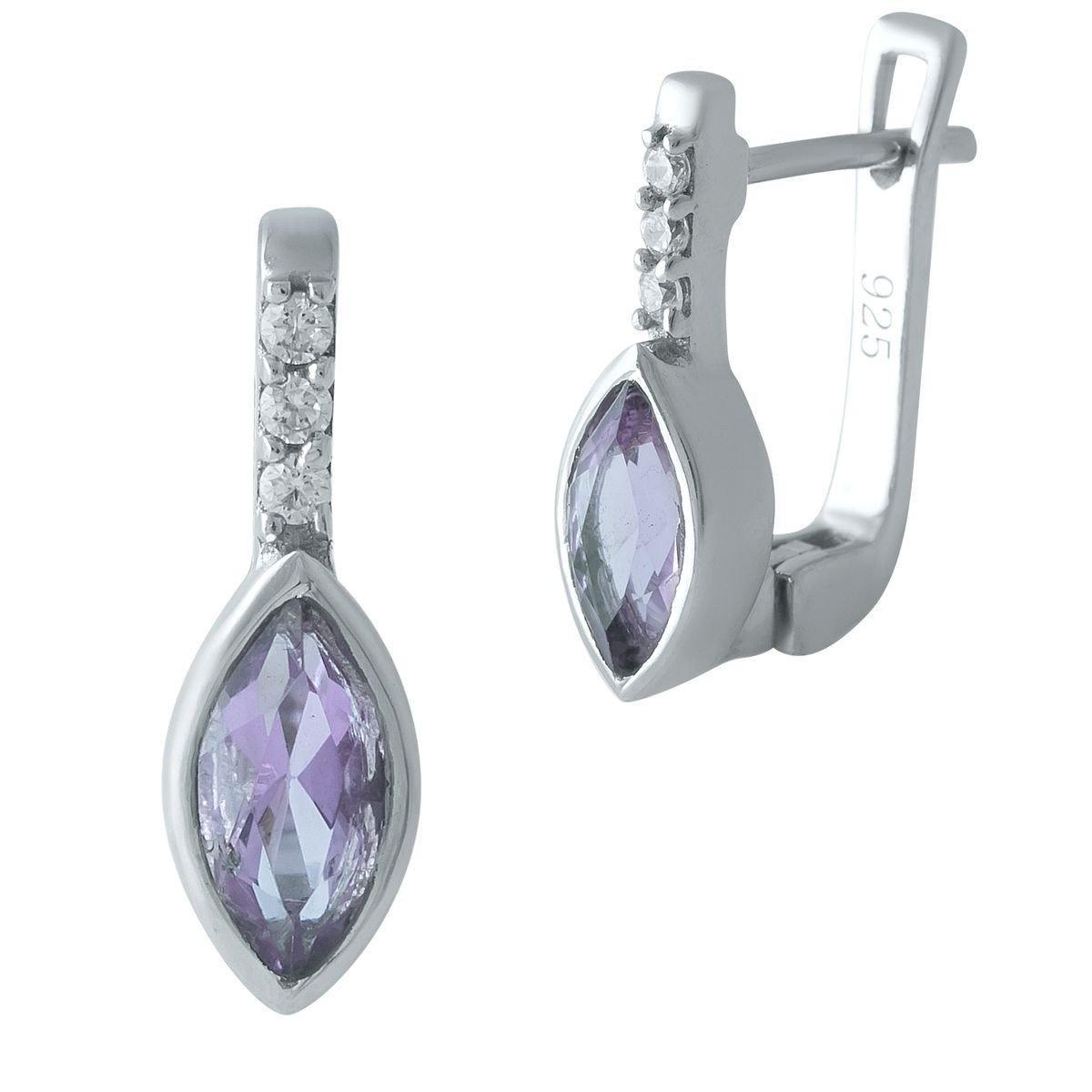 Серебряные серьги DreamJewelry с натуральным аметистом (1969700)