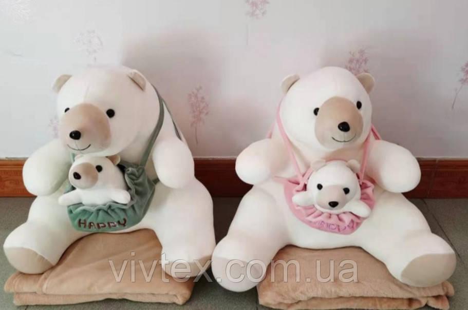 Плед детский + игрушка медведь и подушка 3в1 оптом