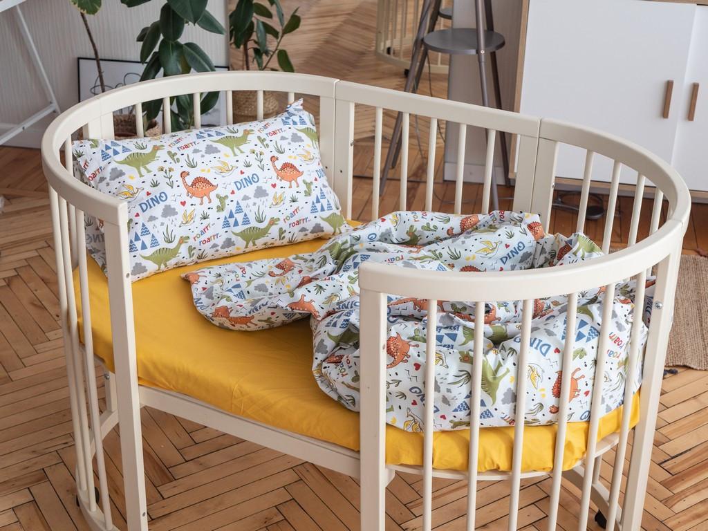 Постельное белье для малышей в кроватку ранфорс Динозаврики