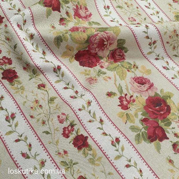 58016 Садовая роза (орнамент). Ткань  с цветочным принтом. Хлопковая ткань..