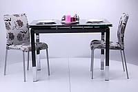 Стол Глория обеденный B179-34-2 1700/1100х740х770 База-чёрный/Стекло-черный.