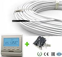 1м2. Комплект для теплого пола из нагревательного карбонового кабеля 33 ом/м 12К (10метров) с терморегулятором