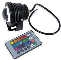 Светодиодный круглый линзованый прожектор SL-10-12 RGB 10W 12V IP67 черный Код.58500