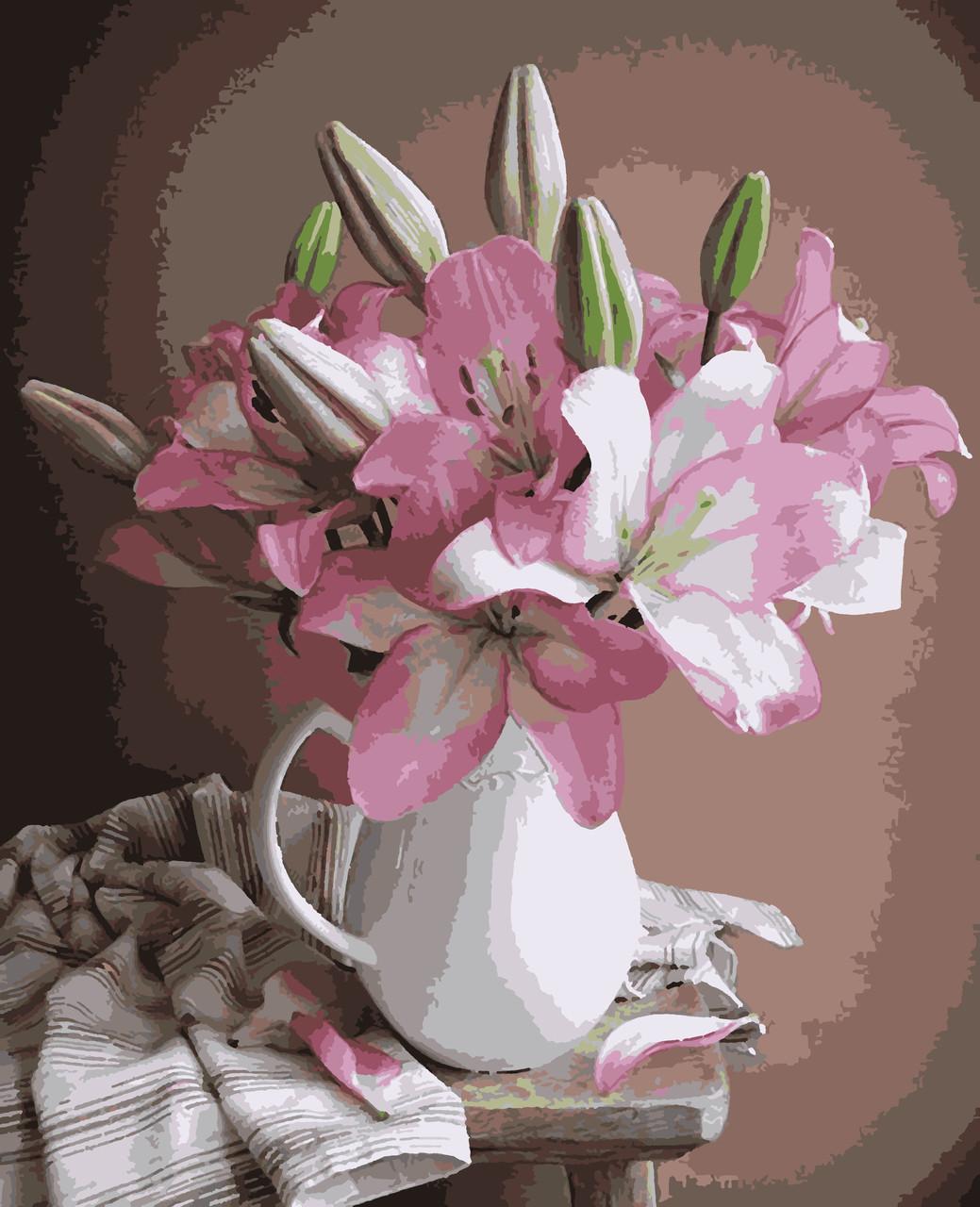 """Картины по номерам """"Лилии в вазе"""" 50*60 см"""
