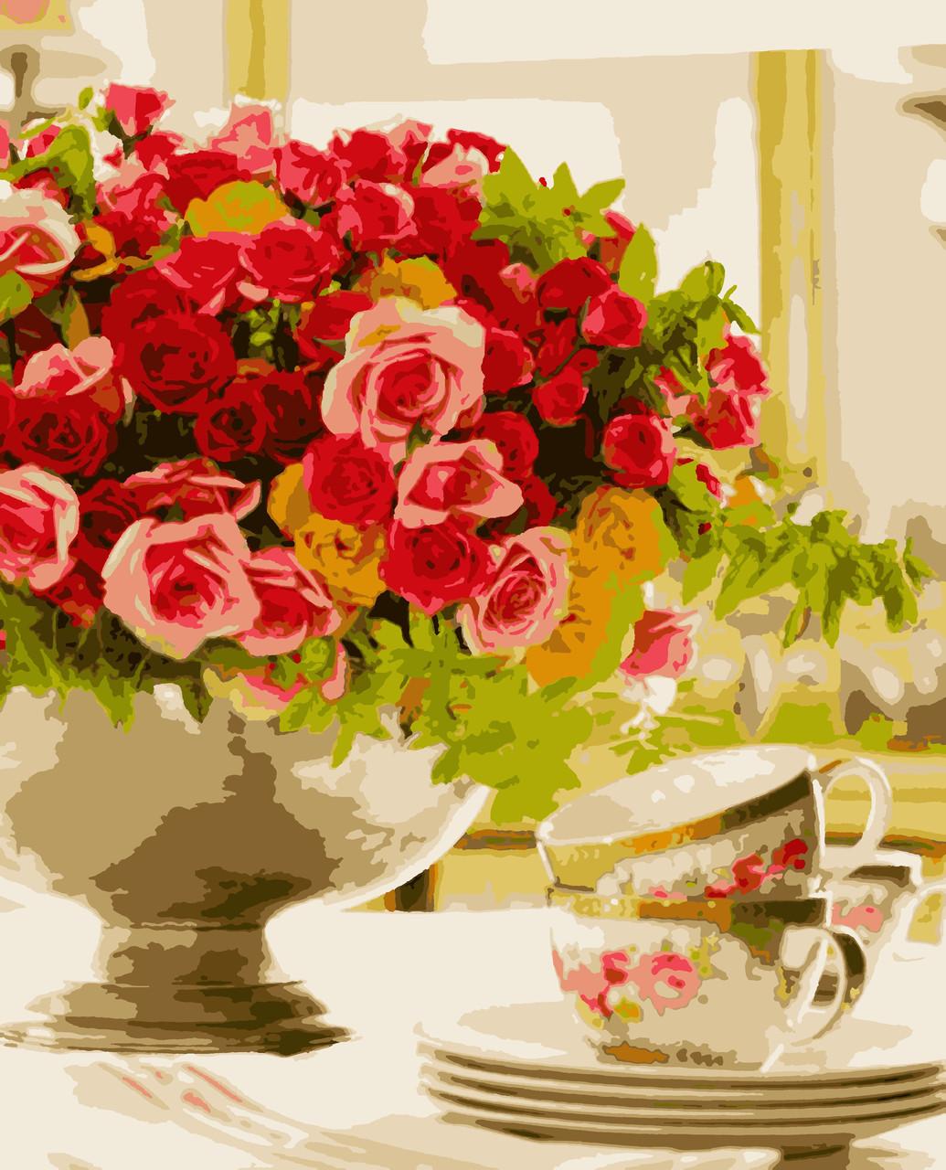 """Картины по номерам """"Трояндовий настрій"""" 50*60 см"""