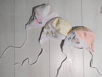 Шапка детская демисезонная для девочки, велюр, на завязках, Юляшка, Мамина Мода (размер 37)
