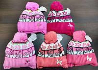 Шапка теплая зимняя для девочки с с завязками + шарф. флис, Щасливе Дитинство