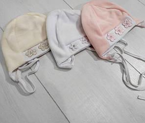 Шапка детская демисезонная для девочки, велюр, на завязках, Перлинка,Мамина Мода (размер 40)