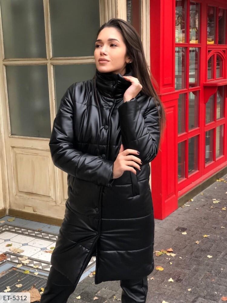 Женская куртка из стёганой эко-кожи на синтепоне (Батал)
