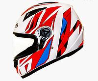 Мотошлем FXW HF-111 БЕЛЫЙ глянец с красно-синим  ( закрытый шлем интеграл )