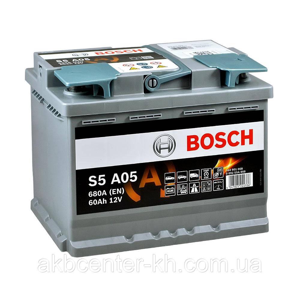 Аккумулятор автомобильный BOSCH AGM S5 6CT- 60Aз R 680A