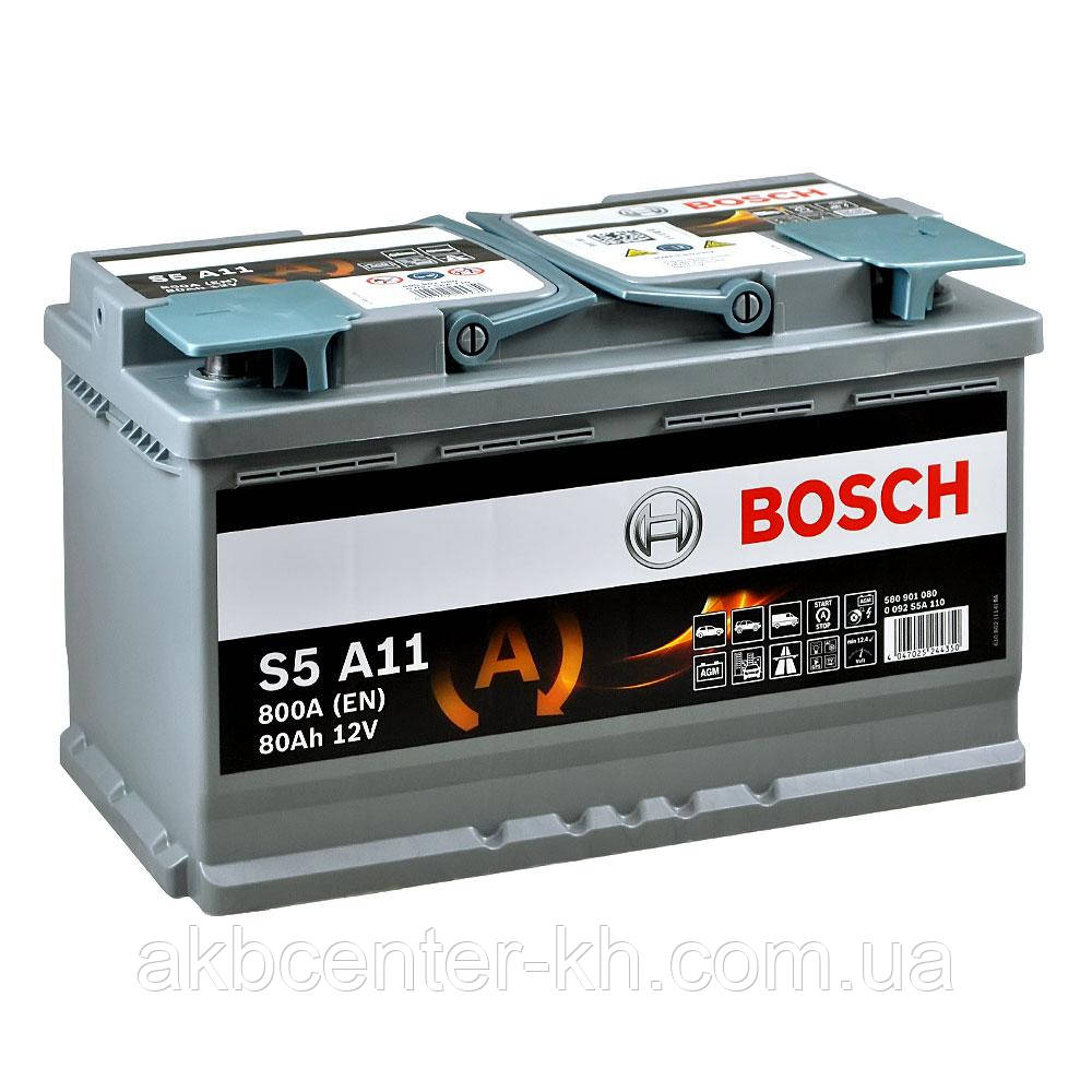 Аккумулятор автомобильный BOSCH AGM S5 6CT- 80Aз R 800A
