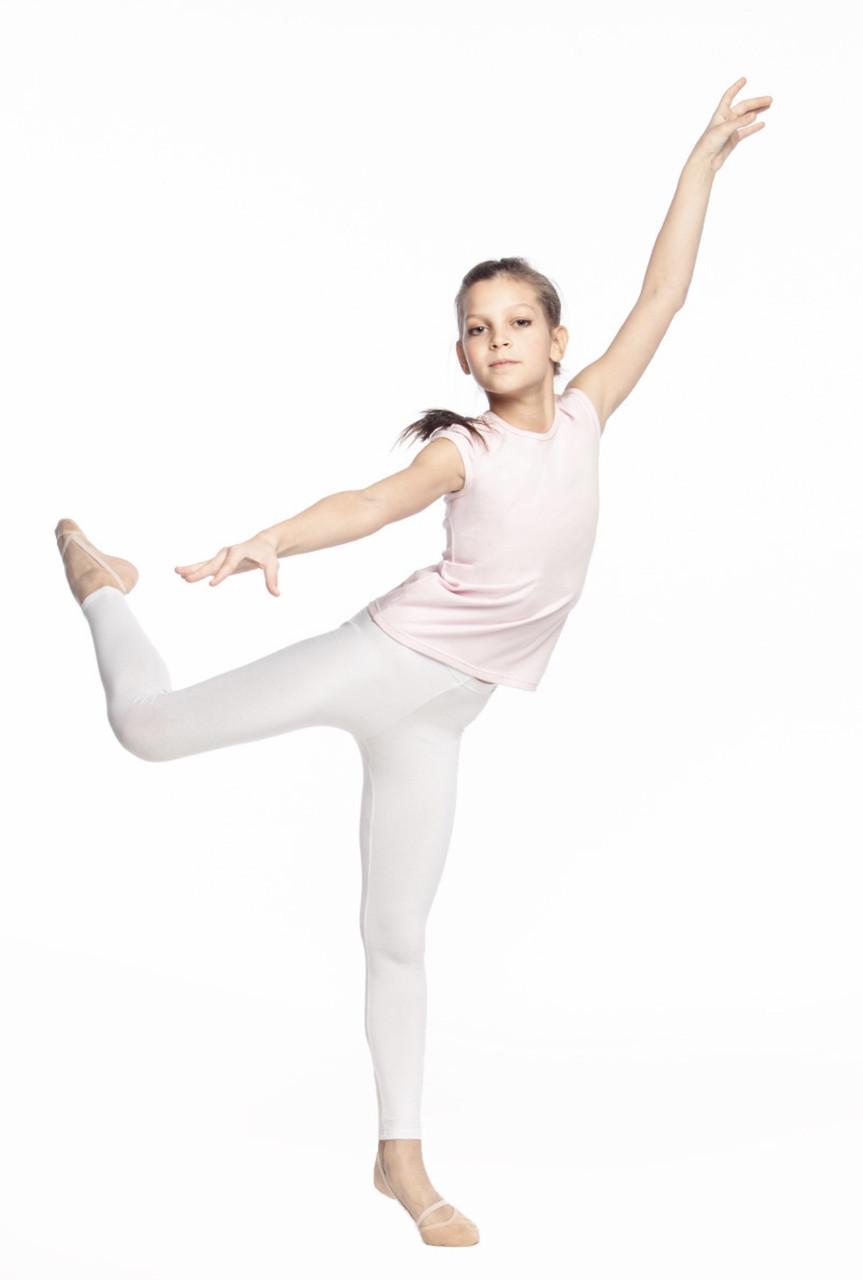 Лосини дитячі білі для танців, гімнастики, хореографії з бифлекса