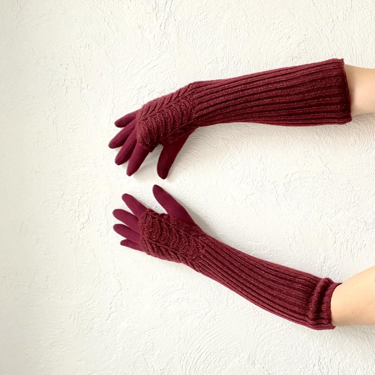 Перчатки женские длинные Woman's heel бордовые (Ш-515-2)