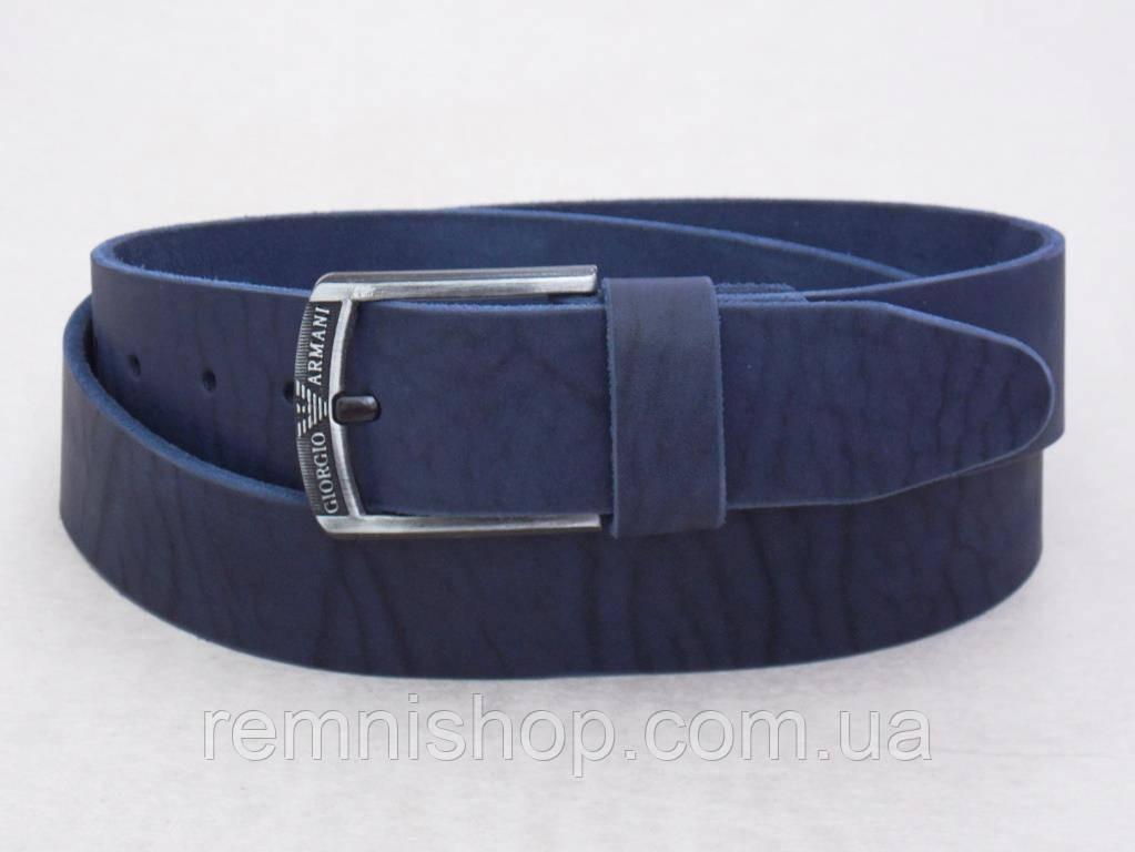 Чоловічий широкий синій шкіряний ремінь Giorgio Armani