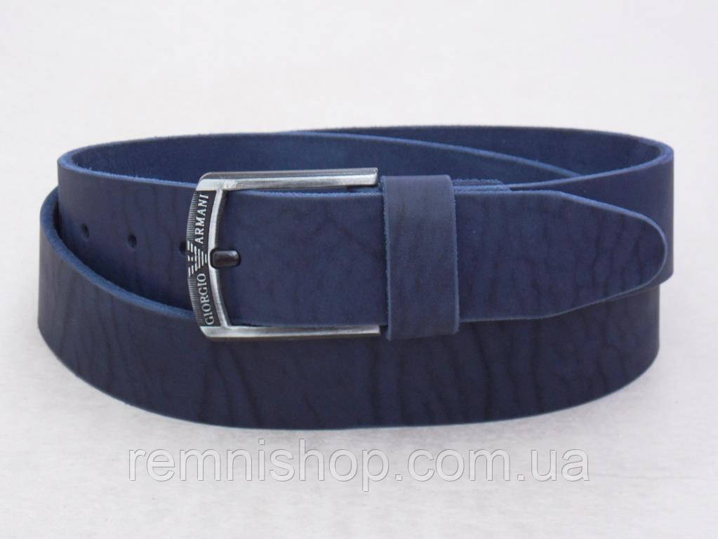 Мужской широкий кожаный синий ремень Giorgio Armani