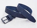 Мужской широкий кожаный синий ремень Giorgio Armani, фото 3