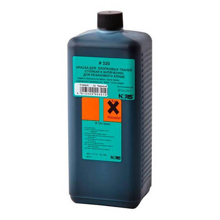 Штемпельная краска для ткани на спиртовой основе 1,0 л (черная), Noris 320, фото 2