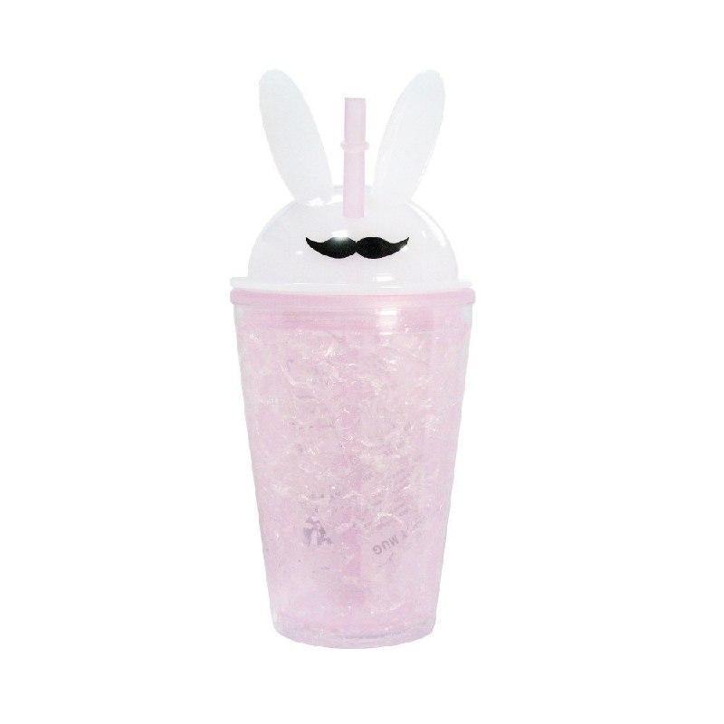 Охлаждающий стакан с трубочкой Усы 450 мл Нежно-розовый (200760)