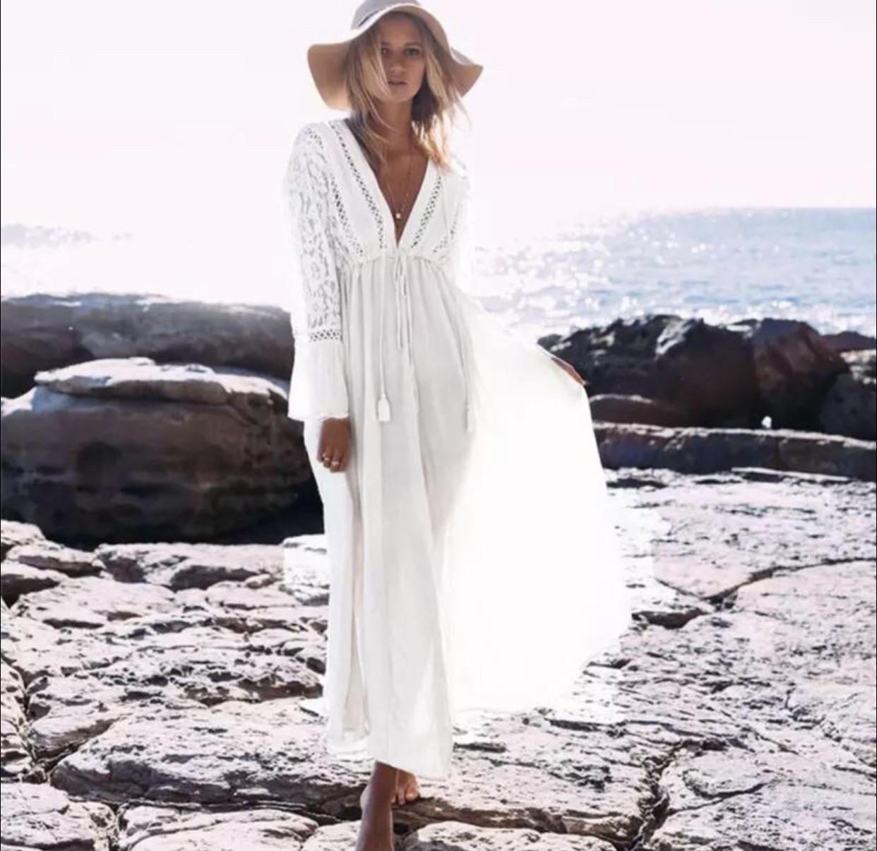 Плаття для пляжу довге з гіпюром колір молоко