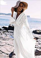 Плаття для пляжу довге з гіпюром колір молоко, фото 2