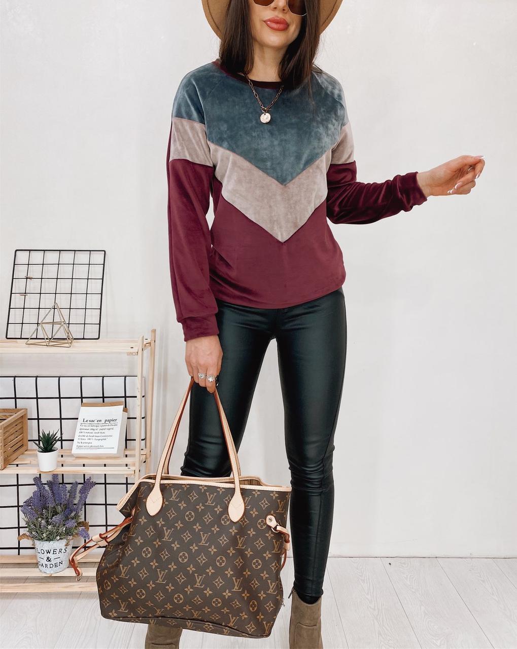 Велюровый свитшот толстовка  бордового цвета  с контрастными вставками
