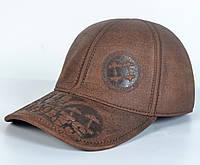 Мужская модная Кожанная теплая кепка на флисе с ушками - NO LIMITS (кофе)