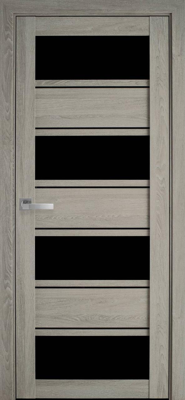 """Дверь межкомнатная """"Новый Стиль"""" модель Элиза, дуб дымчастый (с черным стеклом)"""