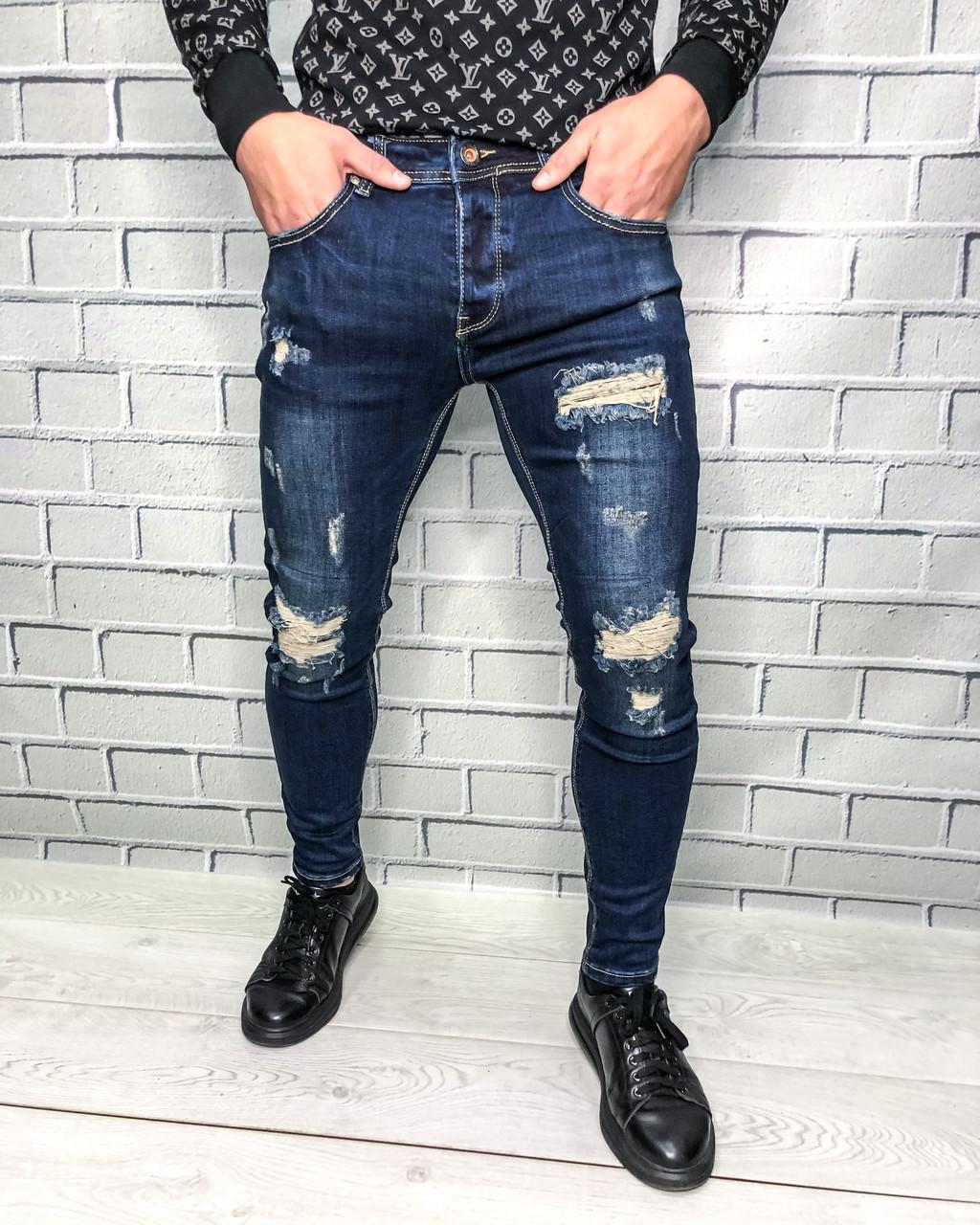 Джинси чоловічі Adam Стильні Молодіжні джинси з потертостями для чоловіків