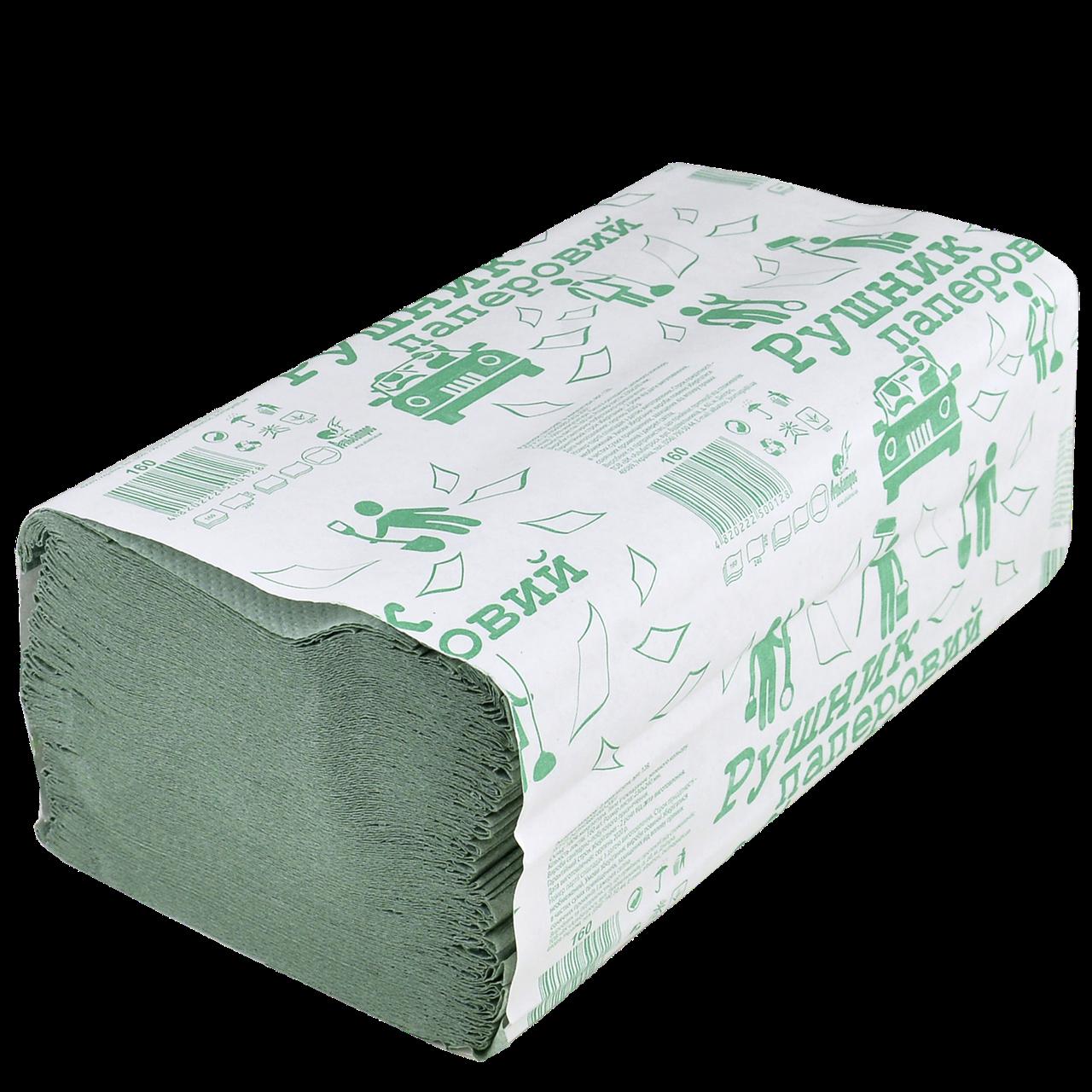 Бумажное полотенце Зеленое 24*23см 160шт 25шт/ящ