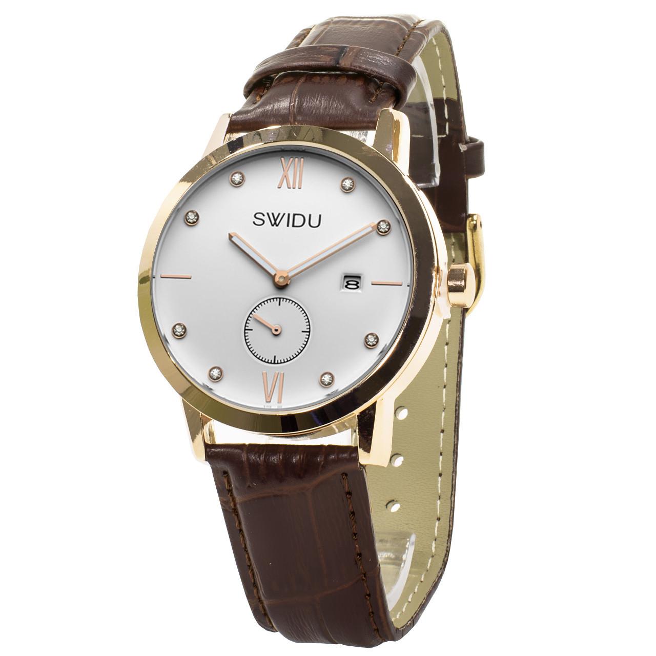 Кварцові годинники Swidu SWI-018 механічні для чоловіків Коричневий (3088-8774)