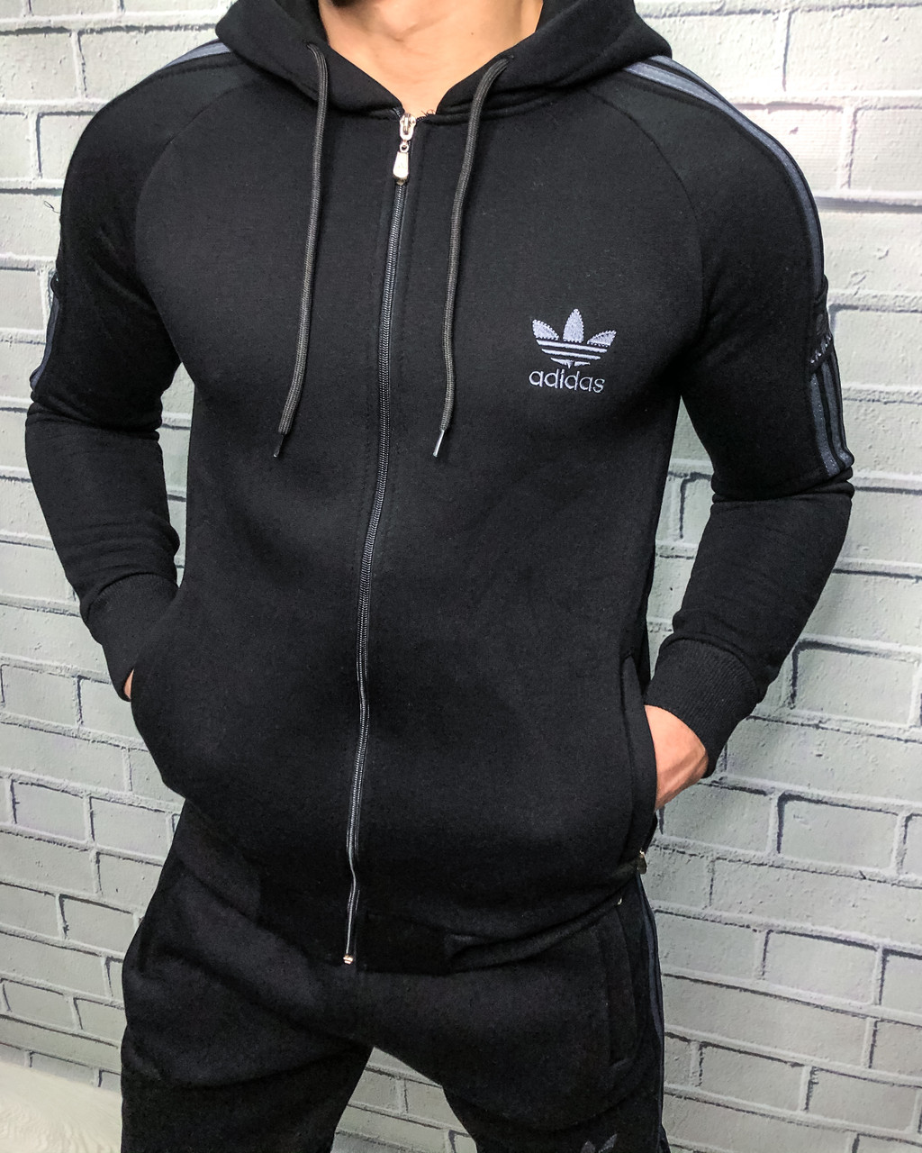 Adidas 3 полоски Кофта Черный M