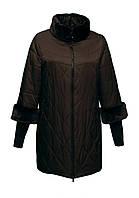 Пуховик женский баталы коричневый