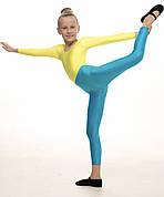 Лосины детские голубые для танцев гимнастики хореографии из бифлекса