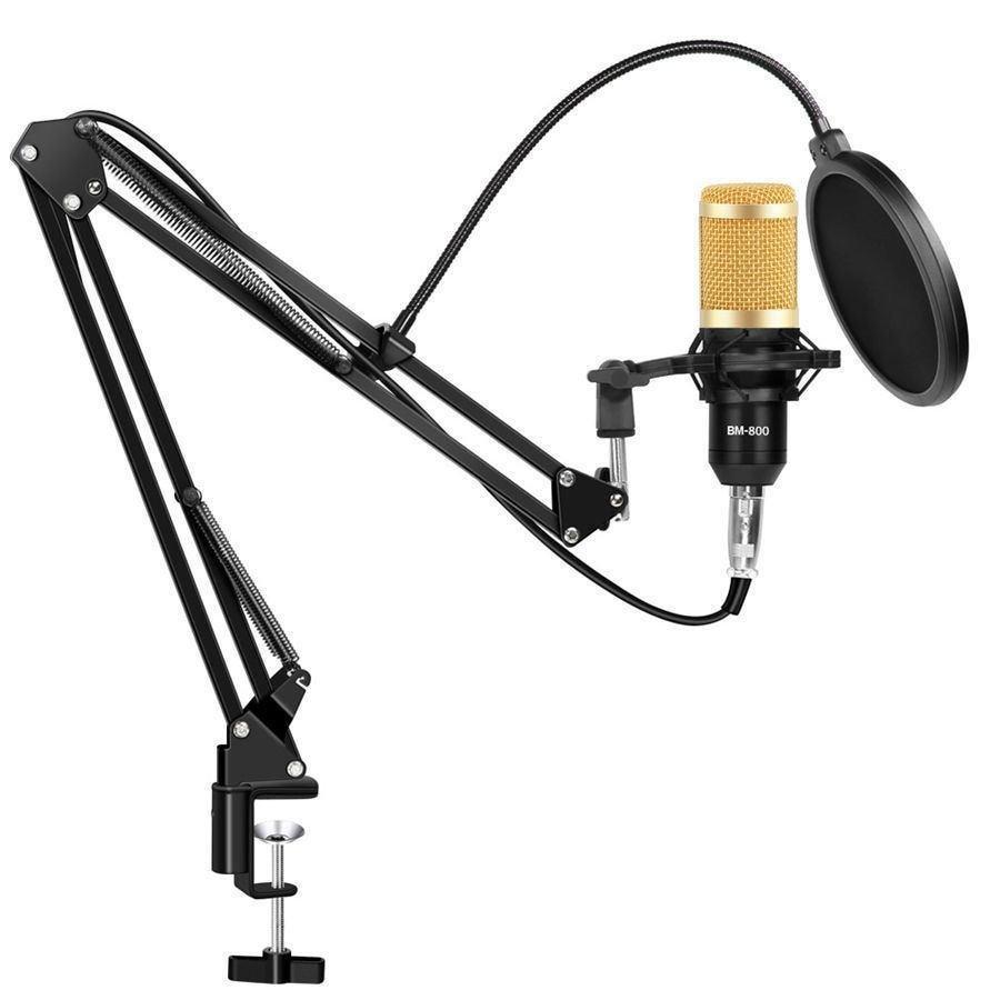 Конденсаторний Студійний мікрофон Music D. J. M 800U зі стійкою і вітрозахистом Black/Gold (7ql72a)