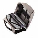 Рюкзак Антивор Bobby с защитой от карманников с USB портом Серый, фото 4