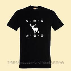 """Чоловіча футболка з принтом """"Новорічний олень"""""""