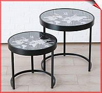 Круглый журнальный столик с часами Мondo 2 шт металл 43-53 см