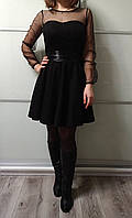 Платье женское черное замша + сетка Exclusive Размер 44, 46, 48