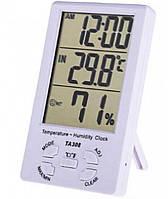 ТА308 цифровой термогигрометр термометр, влажность, часы (-10°C до 50°C)