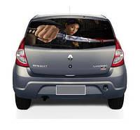 "Наклейка на заднее стекло автомобиля ""Девушка с мечом"""
