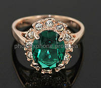 Яркое кольцо с кристаллами Swarovski, покрытое слоями золота (102312)