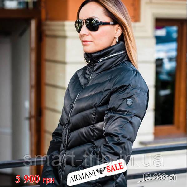 Куртка женская пуховик Emporio Armani EA7 XS длинная черная sale (6GTL04-TN05Z-1200-sale-XS)
