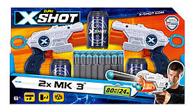 Набір скорострільних бластерів x-shot combo pack (2 види зброї 3 barrel shooter, 3 банки, 1) (36432Z)