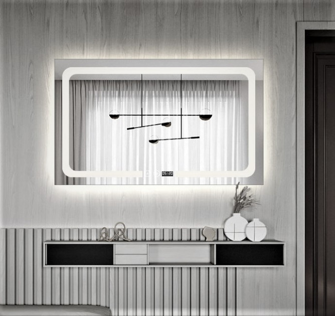 Зеркало  для ванной с подсветкой 75х100 DE-M3001 Dusel с часами