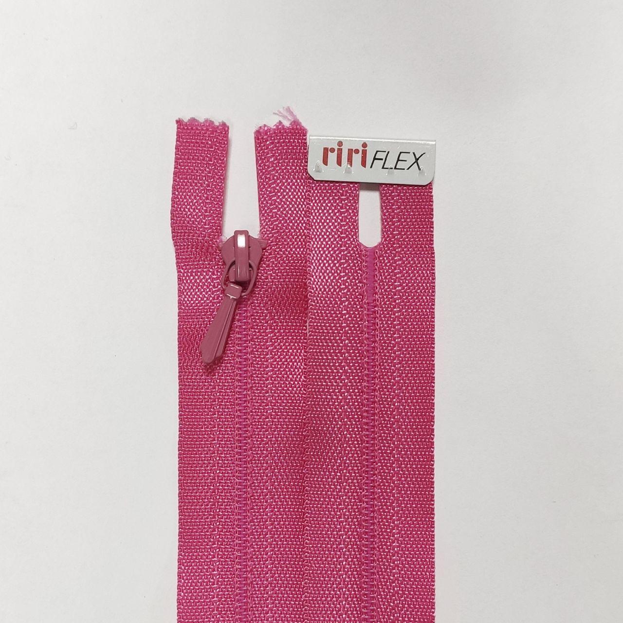 Спіральна блискавка нераз'емна Riri 15-65 см відтінки рожевого і фіолетового