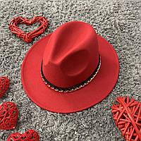 Шляпа Федора красная с устойчивыми полями Gold Chain унисекс