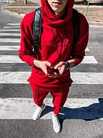 Мужской осенне-весенний спортивный костюм с капюшоном красный (Турция) - M, L, XL