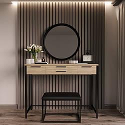 """Туалетный столик с банкеткой и зеркалом """"Визави Чёрный"""""""