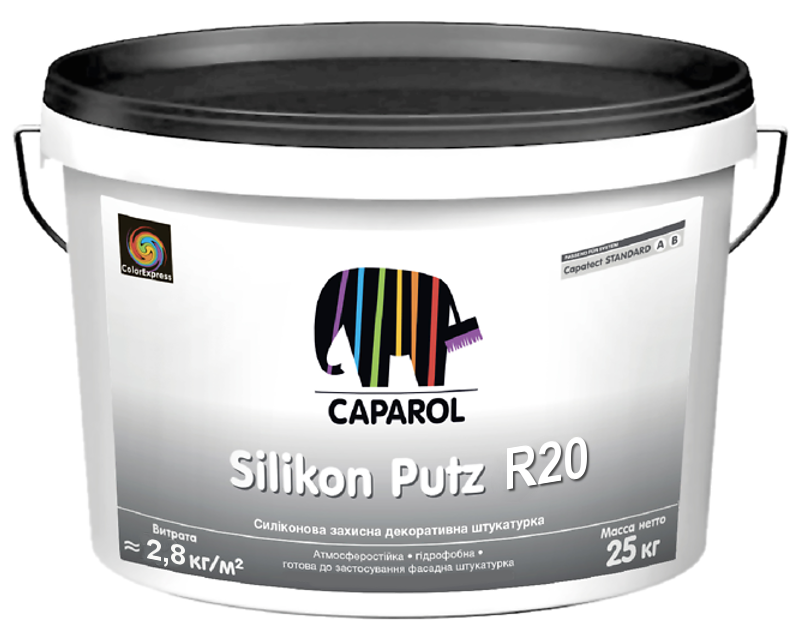 "Штукатурка силиконовая CAPATECT STANDART SILIKON PUTZ R20 ""короед"" белая 25кг"